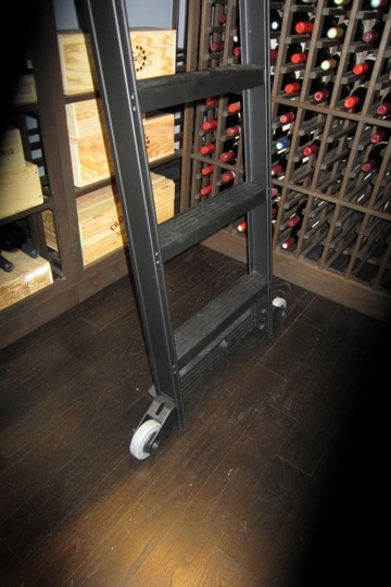 Base of Wine Cellar Ladder Features Contemporary Wheels