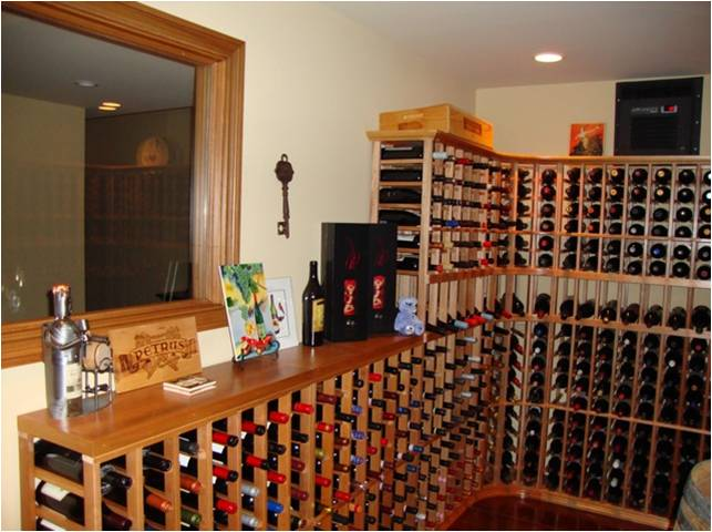 Left Wall with Window Custom Wine Cellar San Diego CA