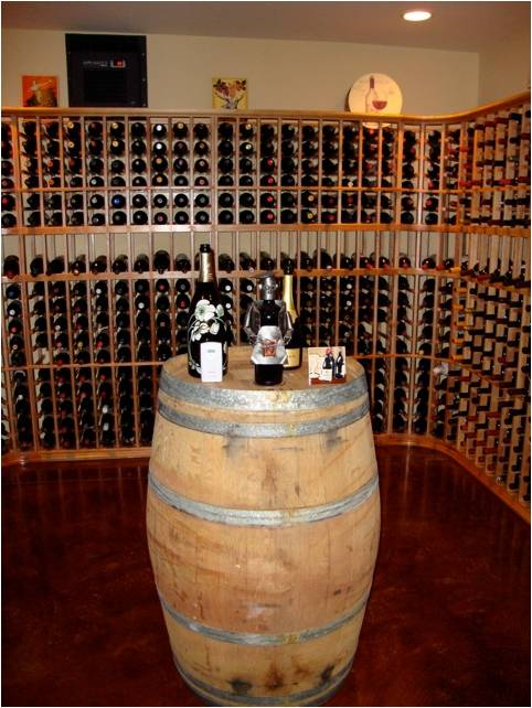Wine Barrel Table Added Character to the Custom Wine Cellar by San Diego Master Builders